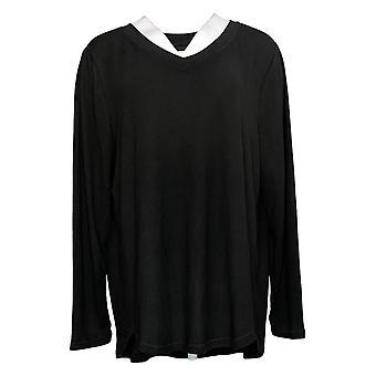 Carole Hochman Women's Pajama Top Plus Long Sleeve Jersey Black A368287