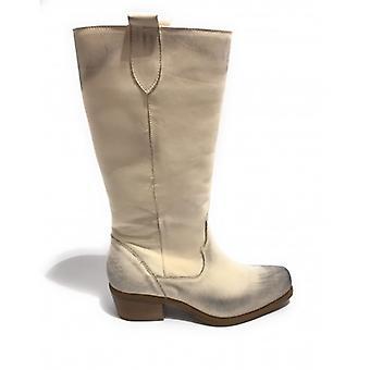 Women's Shoes Elite Texan Boot Square Tip Leather Nabuk White Cream Ds20el09
