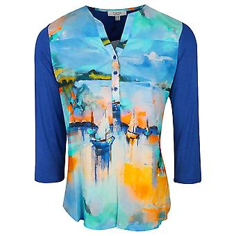 Tinta Style Shades Of Blue 3/4 Sleeve Blouse With Half Button Collar And Ship Print Design