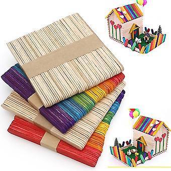 50 Stück Satz von multifunktionalen umweltfreundlichen Naturholz Popsicle Sticks für Wachsverfahren, diy, Kochen und Kunst und Handwerk.