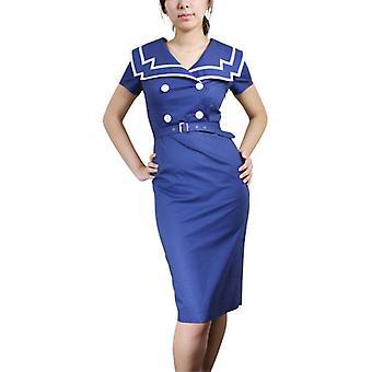 Chic Star Plus Size Vintage Sailor Pencil Cotton Dress In Navy