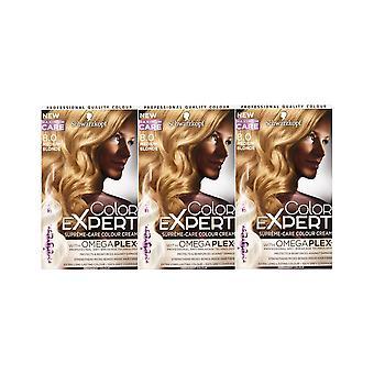 Schwarzkopf Color Expert 8.0 Medium Blonde Omegaplex Permanent Hair Dye x 3 Pack