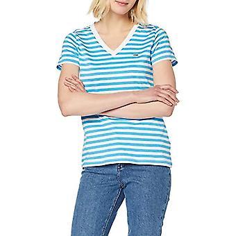 Tommy Hilfiger Tjw Tommy Classics V-Neck T-shirt, White/Blue (Alaskan Blue/Classic White 401), M Woman