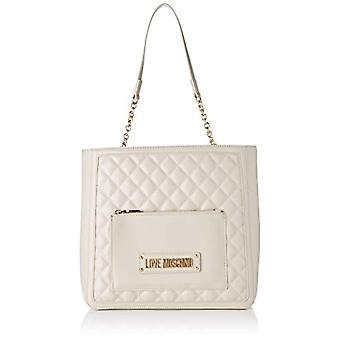Love Moschino Bag Quilted Nappa Pu Shoulder Strap Woman, (Ivory), 11x29x35 cm (W x H x L)