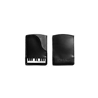 Dallaiti Design Credit Card Port in Leather-Piano, Woman, Black (Black), 7x1x10 cm (W x H x L)