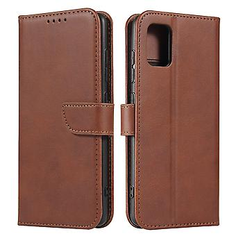 Flip folio leather case for samsung s21 brown pns-3072