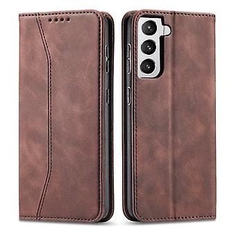 Flip folio leather case for samsung a72 5g brown pns-1656