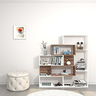 Biblioteket var hvid farve, træ, i melamin spånplader, ABS L140xP25xA150 cm