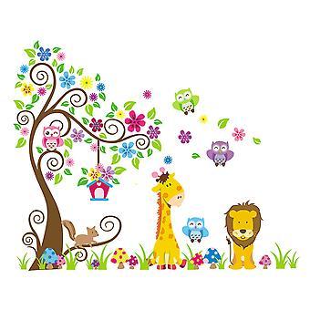 Regenboghorn Jungle Zoo Animal Giraffe Lion Squirral Monkey Wall Decal Sticker ZY1218