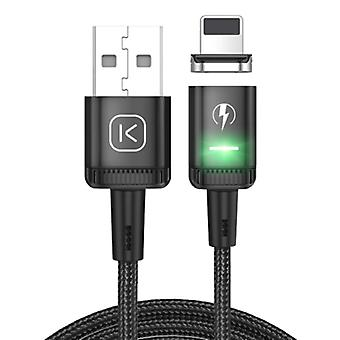 Kuulaa iPhone Lightning Magnetic Charging Cable 2 Meters with LED Light - 3A Fast Charging Braided Nylon Charger Data Cable Android Black