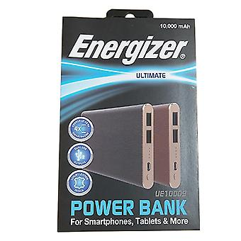 Energizer 10000mAh PowerBank Brown Leather with 1m Black iPhone Cable