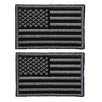 2pcs Tactical Usa Flag Patch Samoprzylepne American Flag Us United States Of America Military Uniform Emblem Patches (węgiel drzewny Szary)