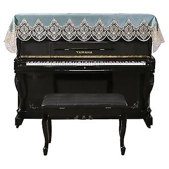 Piano Cover European-style Dust Cover  Towel Lace Nordic Style(Blue)