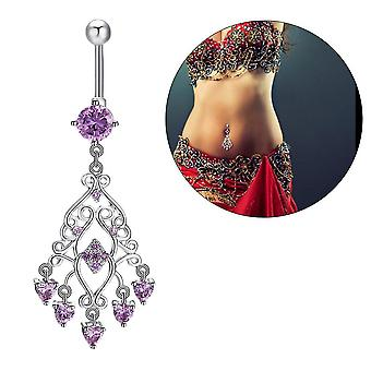 P0049 Zircon Pupek Prsten Ženy Dívka Body Piercing Šperky Dangle Belly Ring