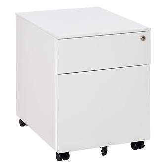 Vinsetto Mobile File Cabinet Steel Lockable with Pencil Tray and Casters Home Filing Furniture for A4, Letters, and Legal-sized Files, 39 x 48 x 48.5cm, White