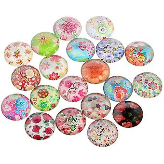 20 Stück Blume oder Floral Gedruckt Glascabochons Halbrund Kuppel Mischfarbe Gemischte Farbe 12x4 mm