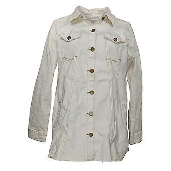 LOGO par Lori Goldstein Women-apos;s Button Front Denim Jacket White A378661