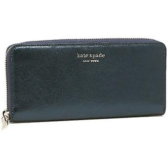 Kate Spade Spencer Slim Continental Wallet Metallic Navy Leather PWR00187