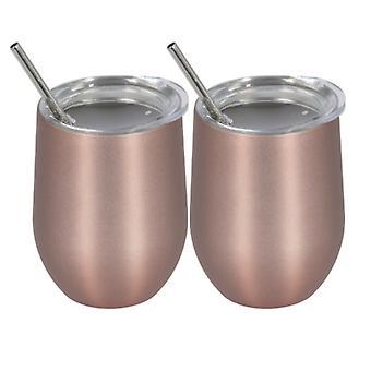 الفولاذ المقاوم للصدأ قارورة معزولة، 350ml القدح الصلب، 2 قطعة كوب القهوة مع القش (روز الذهب)