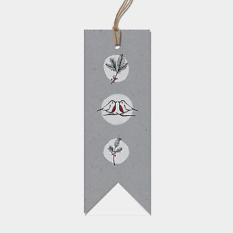 Öster om Indien jul etikett Taggar Pack x 6 grå Robins