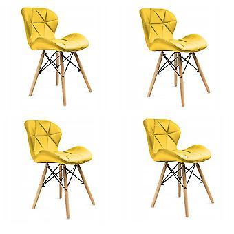 Eetkamer stoelen set van 4 velours geel Scandinavisch design