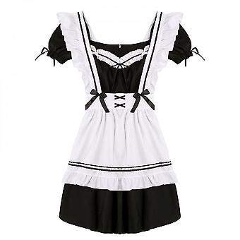 Women Maid Outfit Anime Long Dress Black And White Dresses Men Lolita Dress Costume Cosplay Cafe Apron
