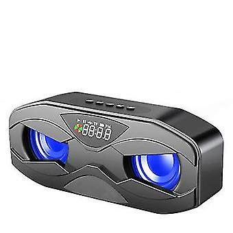 Outdoor tragbarer drahtloser Bluetooth-Lautsprecher, zwei Lautsprecher, Subwoofer, LCD-Display (Schwarz)