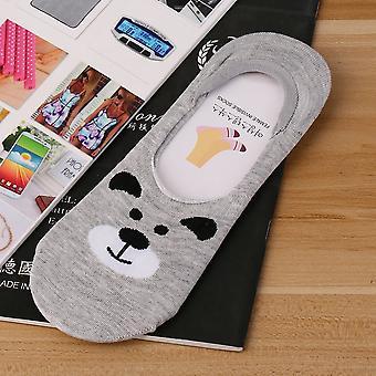 かわいい小動物漫画女性コットンソックス目に見えないシリコーンの滑りの靴下