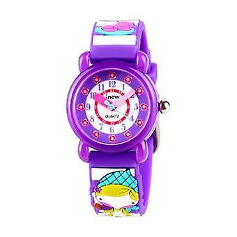 Vízálló gyermek kvarc Watch-3d Girl Pattern-lila