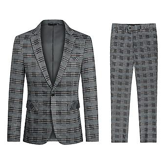 Yunyun Homme 2 Pièces Slim Fit Costume Set Formelle Casual Blazer Pantalon