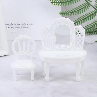 2db/set 1:12 Babaház miniatűr hálószoba bútor tükör öltözőasztal+szék