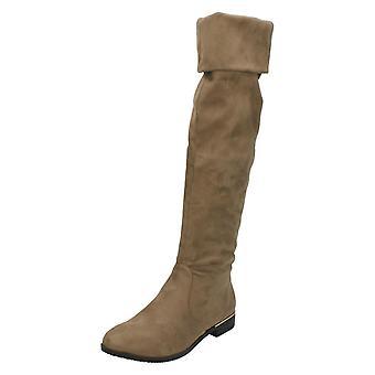Ladies Spot On Low Heel Knee High Boots F50670