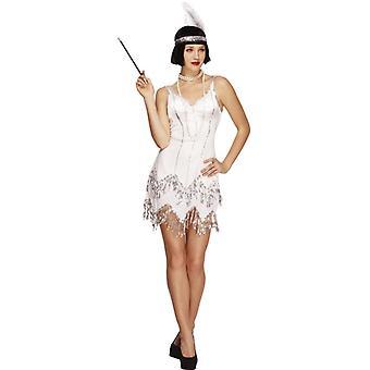 Koorts collectie flappers verblinden kostuum witte jurk met pailletten en hoofdband met veer maat S