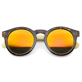Öko-echte Bambus Flash-Spiegel Horn umrandeten Runde Sonnenbrille