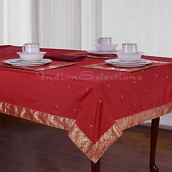 Maroon - Handmade Sari Tablecloth (India)