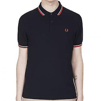 Fred Perry M3600 Twin tippede Polo navy/hvid/rød