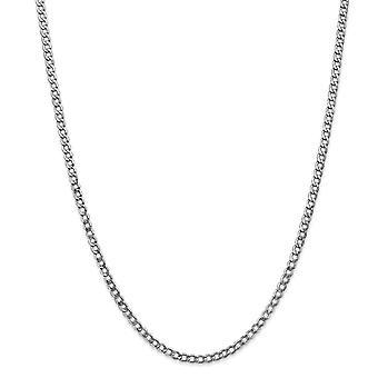 14 k oro bianco 3,35 mm semi-solido frenare Link catena braccialetto alla caviglia - lunghezza: 7-10