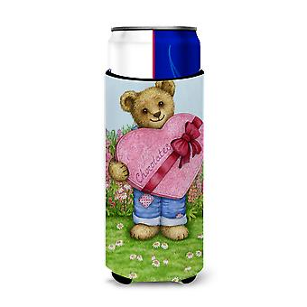 Valentine Teddy Bear with Chocolates Ultra Beverage Insulators for slim cans