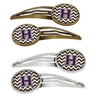 Letter H Chevron paars en goud Set van 4 haarspeldjes Hair Clips