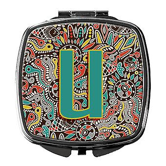 Letter U Retro Tribal Alphabet Initial Compact Mirror