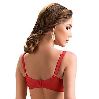Nessa vrouwen Rubin Red Floral geborduurd niet-Padded BH zachte beugel