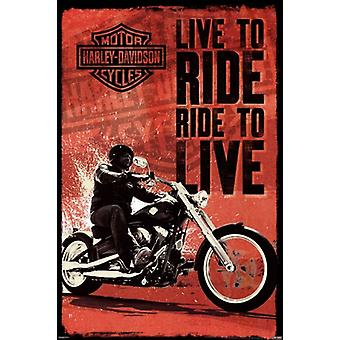 Harley Davidson - Live to Ride plakat Poster Print