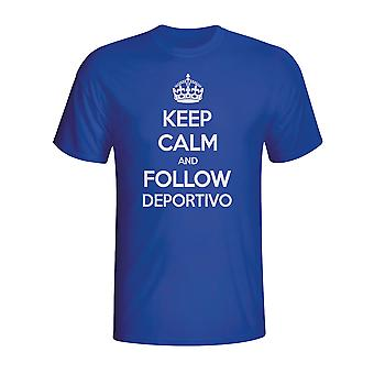Houd kalm en volg Deportivo T-shirt (blauw)