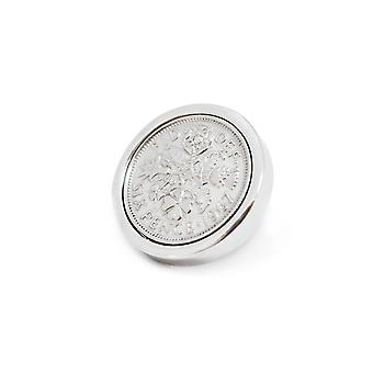 Genuine Polished 1956 Sixpence in Lapel Pin | 1956 anniversary, 63rd birthday