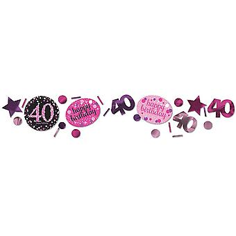 Amscan 1.2oz Pink 40th Birthday Sparkling Confetti