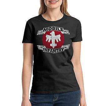 Starship Troopers Distressed MI Women's Black T-shirt