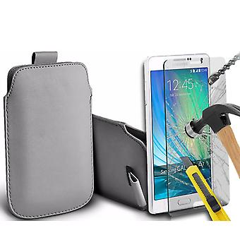 """For Samsung Galaxy J2 Pro 2018 (5"""") - Faux Leather Pull Tab Pouch Skin Case Cover with Tempered Glass (Grey) by i-Tronixs"""