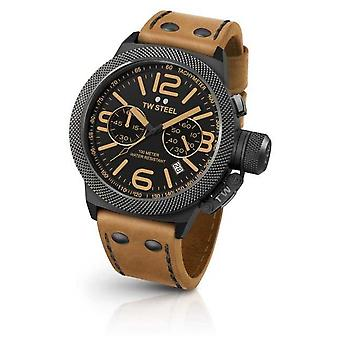 TW Steel Mens Canteen Black Dial Light Brown Leather CS43 Watch