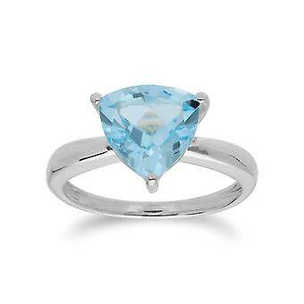 Anillo de prisma de triángulo de topacio azul de trillón geométrico en 925 plata de ley 253R366302925