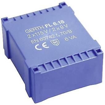 Gerth FL6.12 PCB mount transformer 2 x 115 V 2 x 6 V AC 6 VA 500 mA